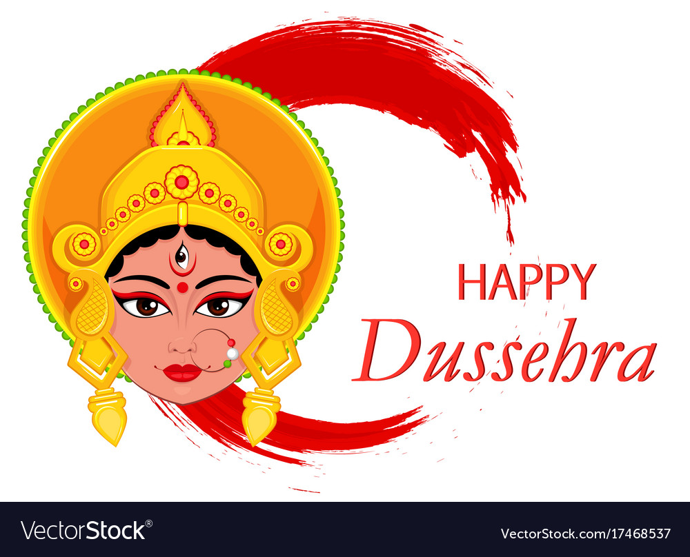 Happy dussehra greeting card maa durga face on vector image m4hsunfo
