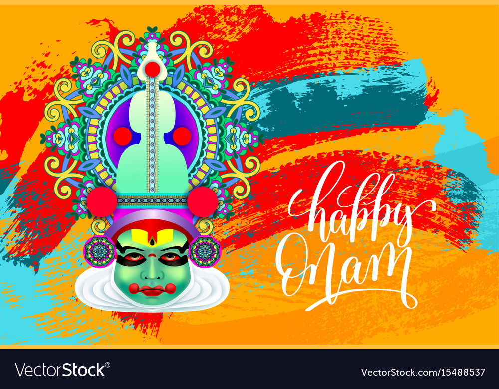 Happy onam greeting card with indian kathakali vector image m4hsunfo