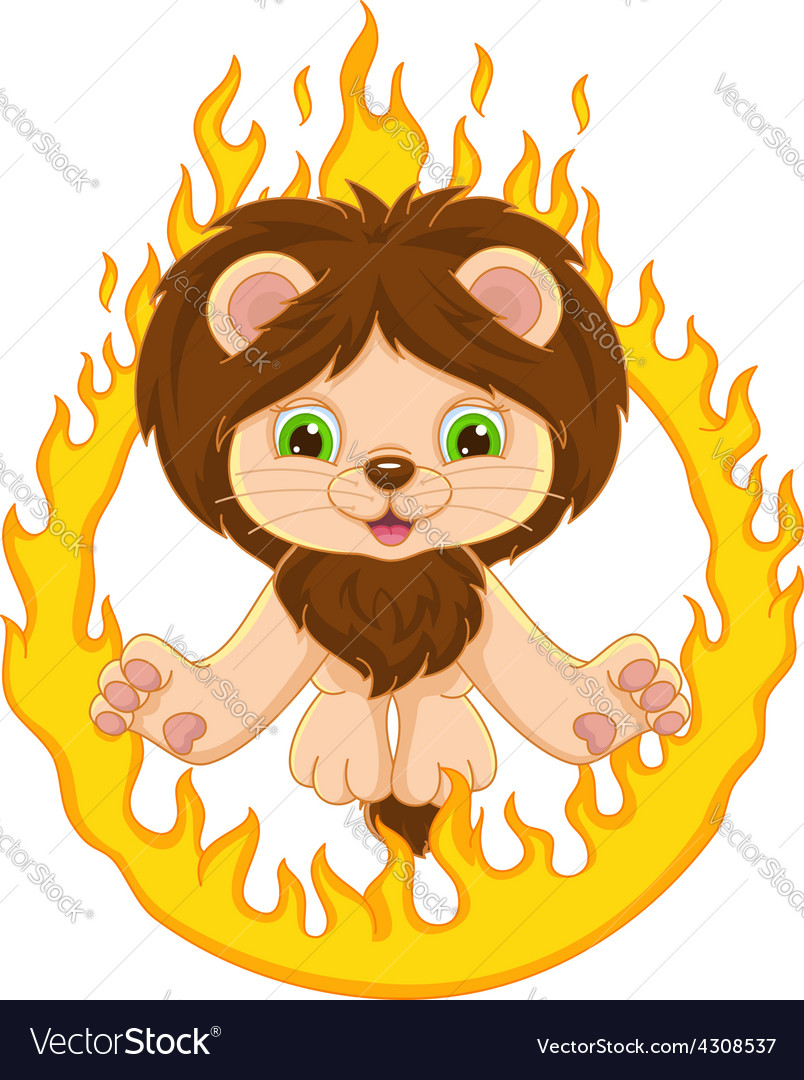 Lion And Ring Of Fire Vector Image