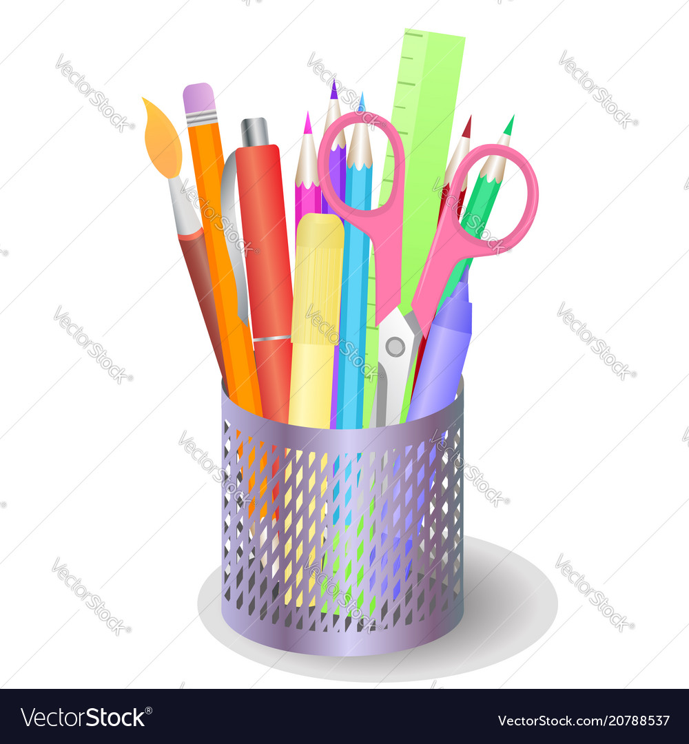 Metal box with stationery and drawing tools