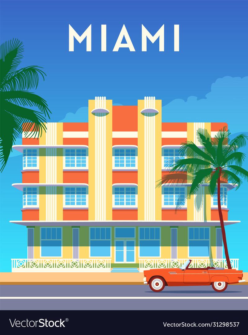 Miami city travel retro poster