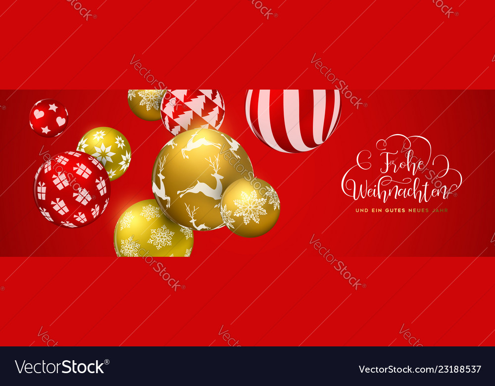 How Do You Say Merry Christmas In German.Red Christmas Ball Banner In German Language
