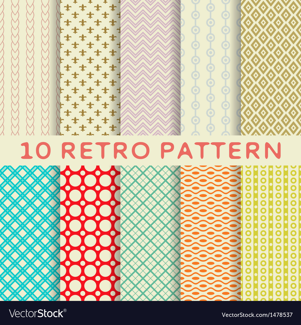 Retro different seamless patterns tiling