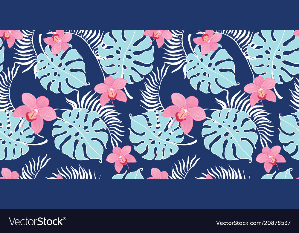 Tropical orchid flowers seamless repeat pattern