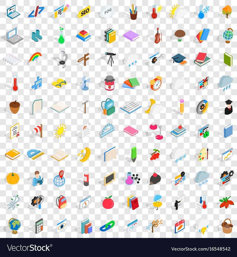 100 calendar icons set isometric 3d style