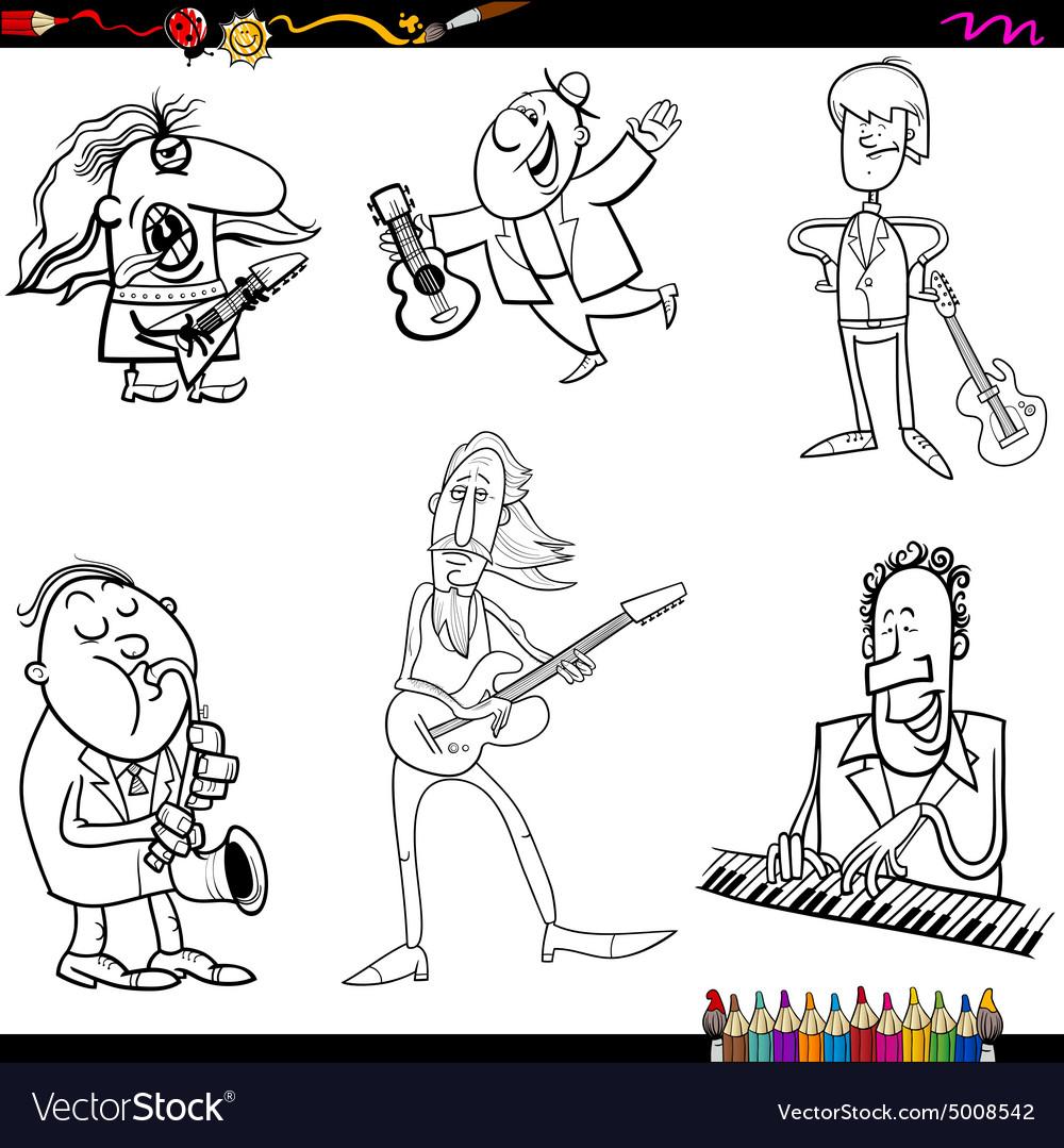 Musicians cartoon coloring page vector image