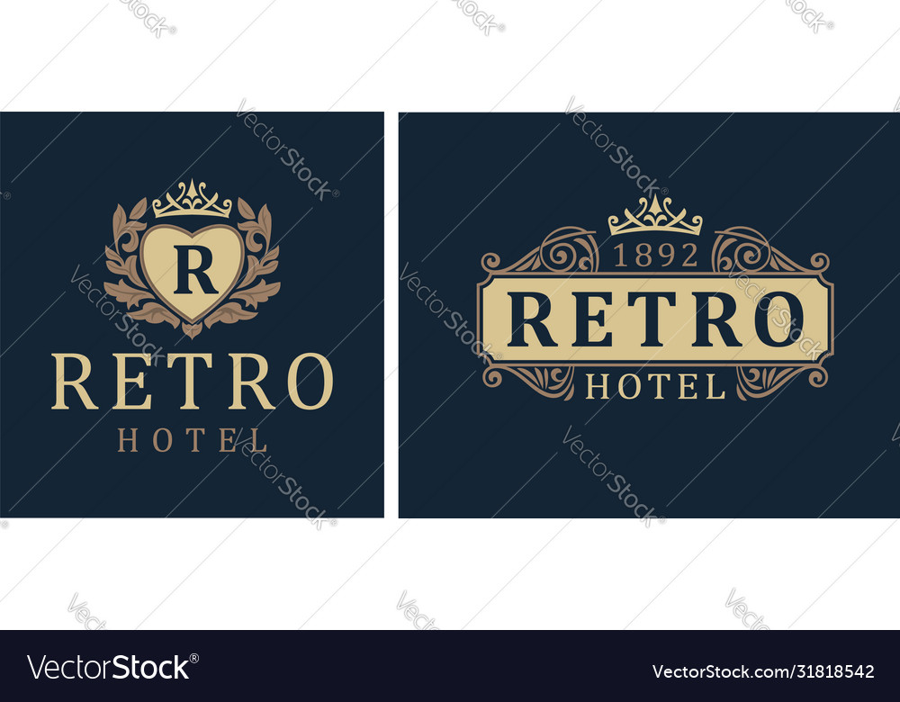Retro hotel letter emblem r in heart with crown