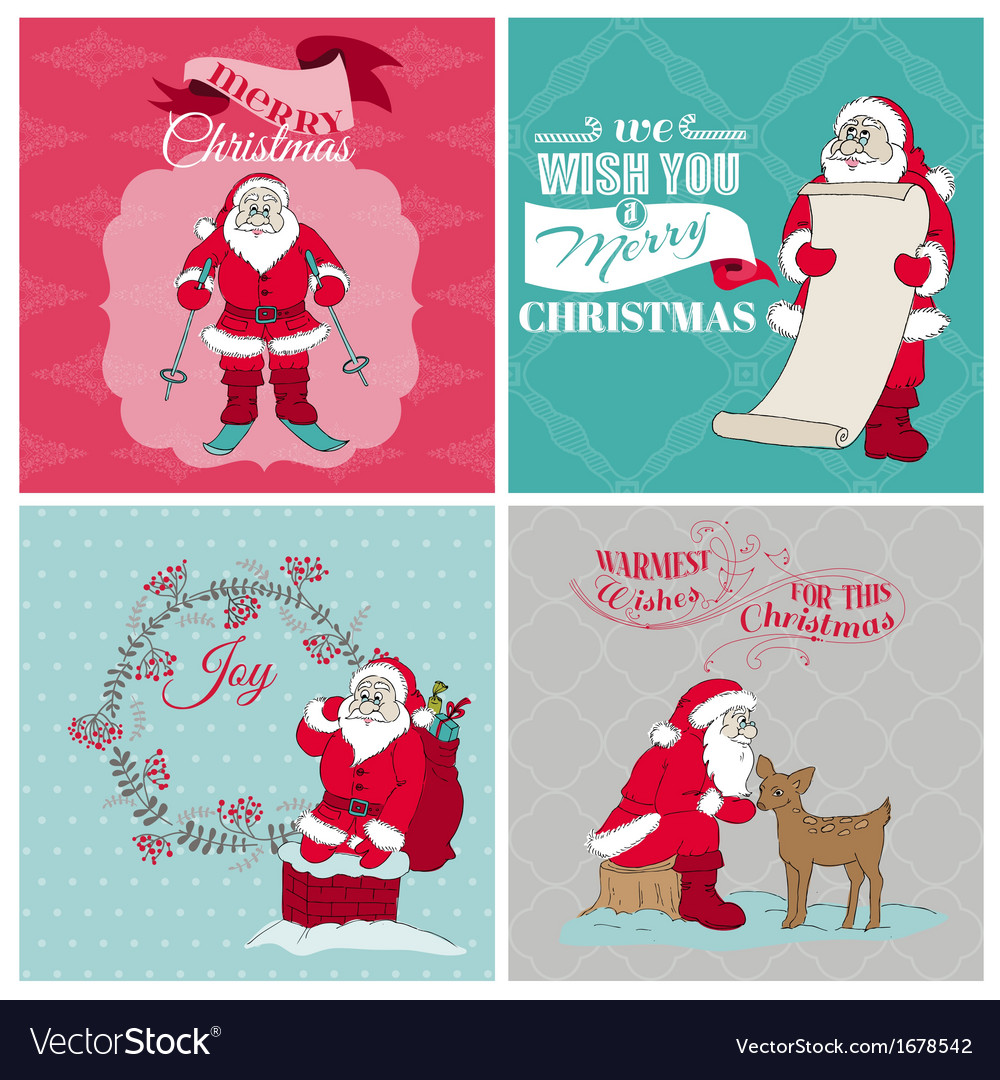 Santa Claus Christmas Cards Royalty Free Vector Image