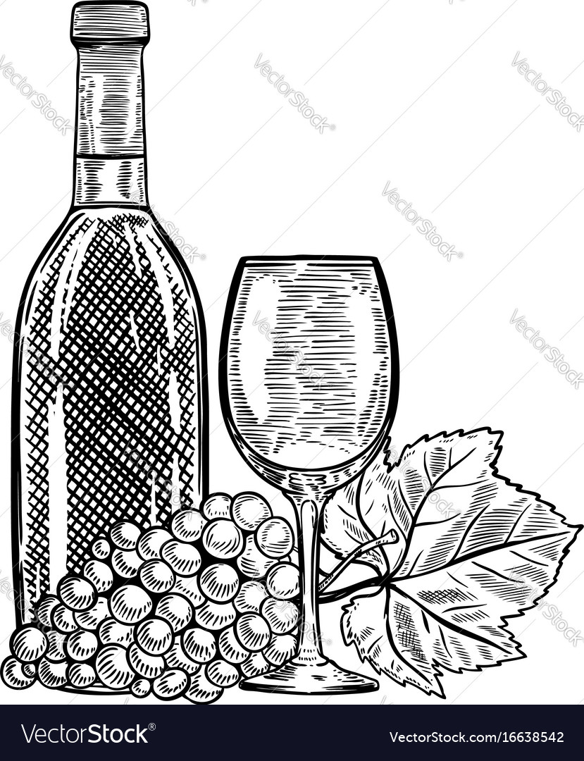 Vintage wine bottle with grapes and wine glass