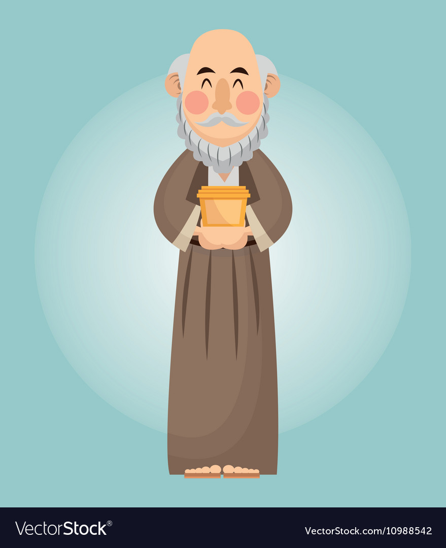 Wise man cartoon with gift design