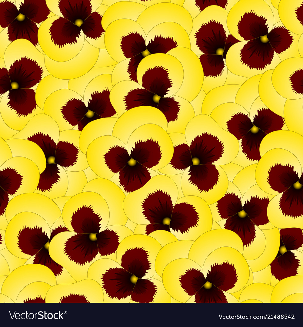 Yellow Pansy Flower On Seamless Background Vector Image
