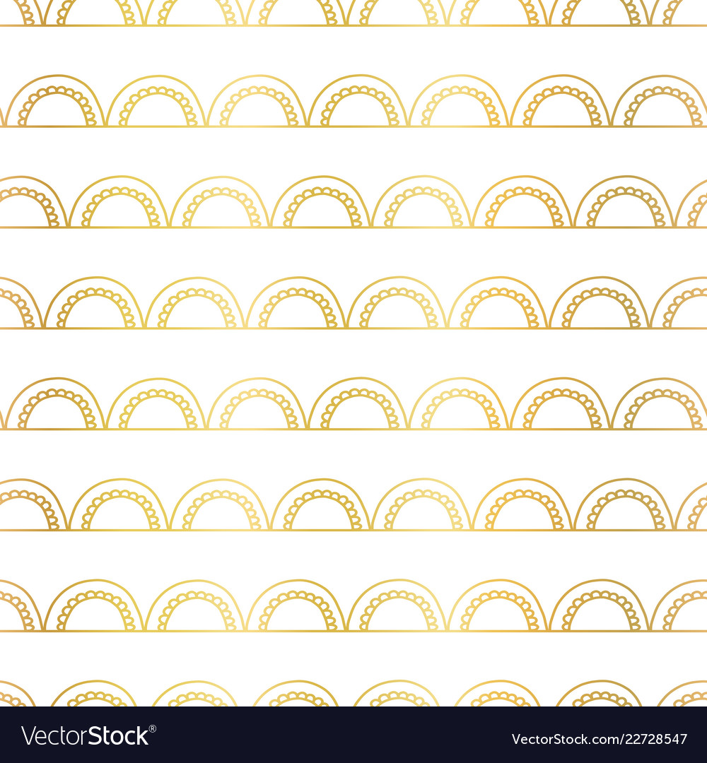 Abstract doodle arcs background seamless gold foil