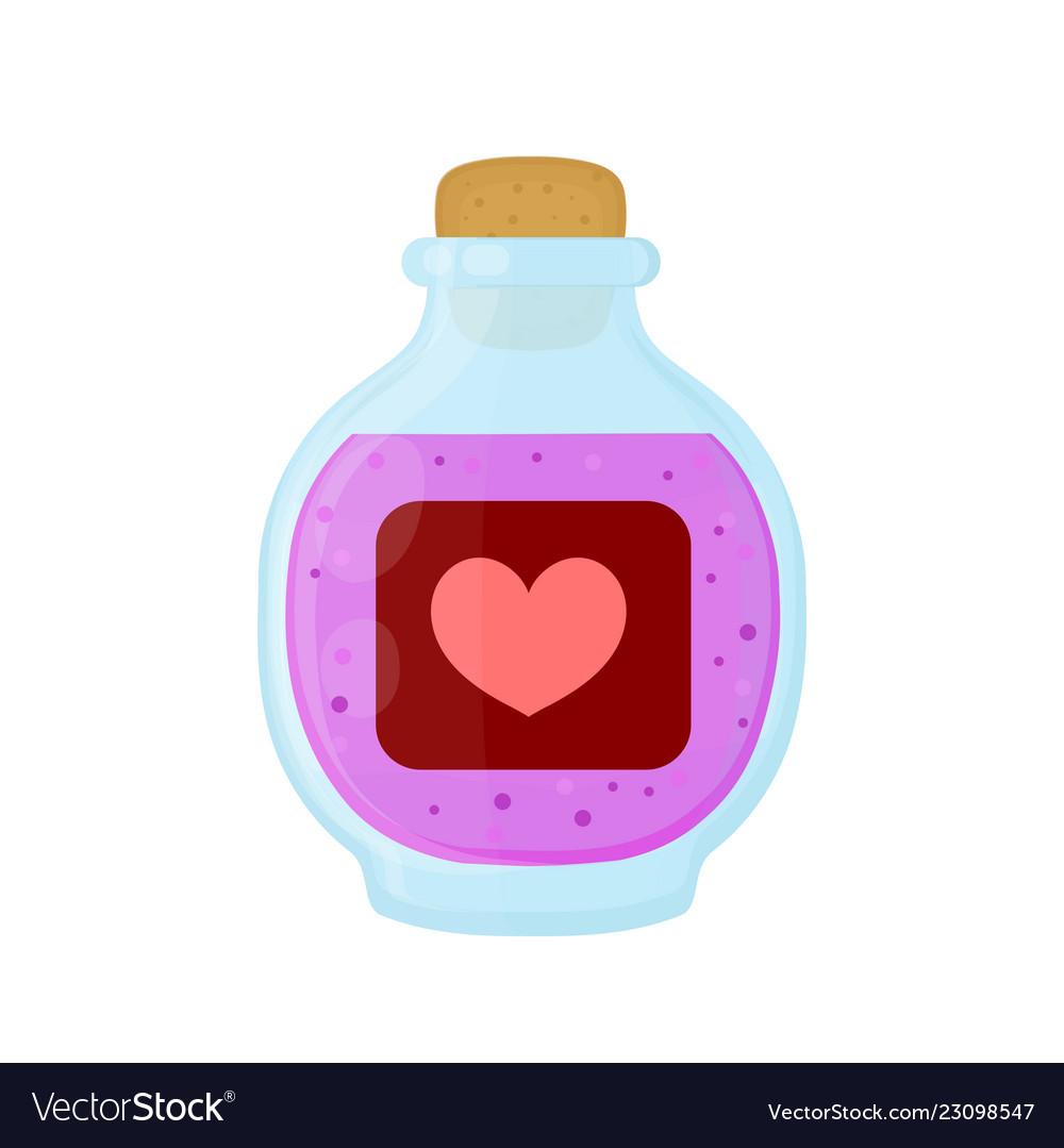 Bottle of magic pink love elixir potion