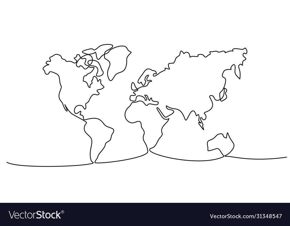 Continuous one line drawing world map