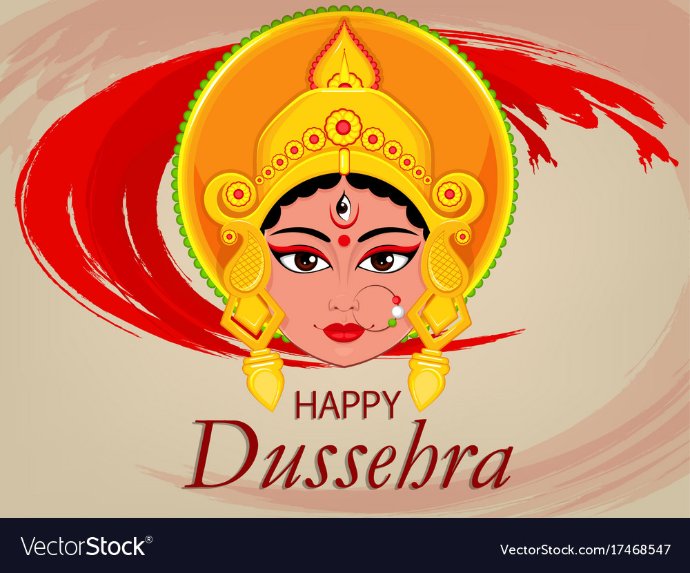 Happy dussehra greeting card maa durga face for vector image m4hsunfo