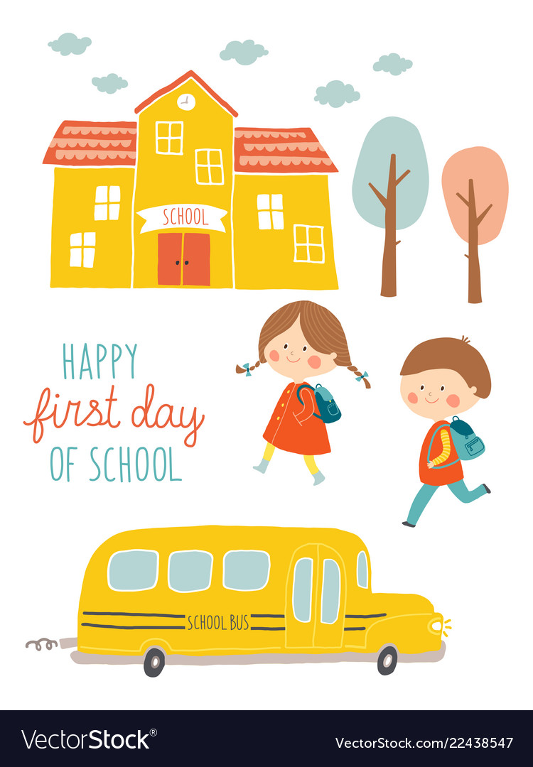 Happy first day of school card design kids going
