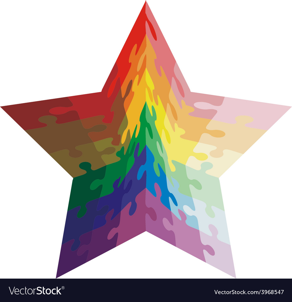 Jigsaw puzzle shape of a star shaped colors