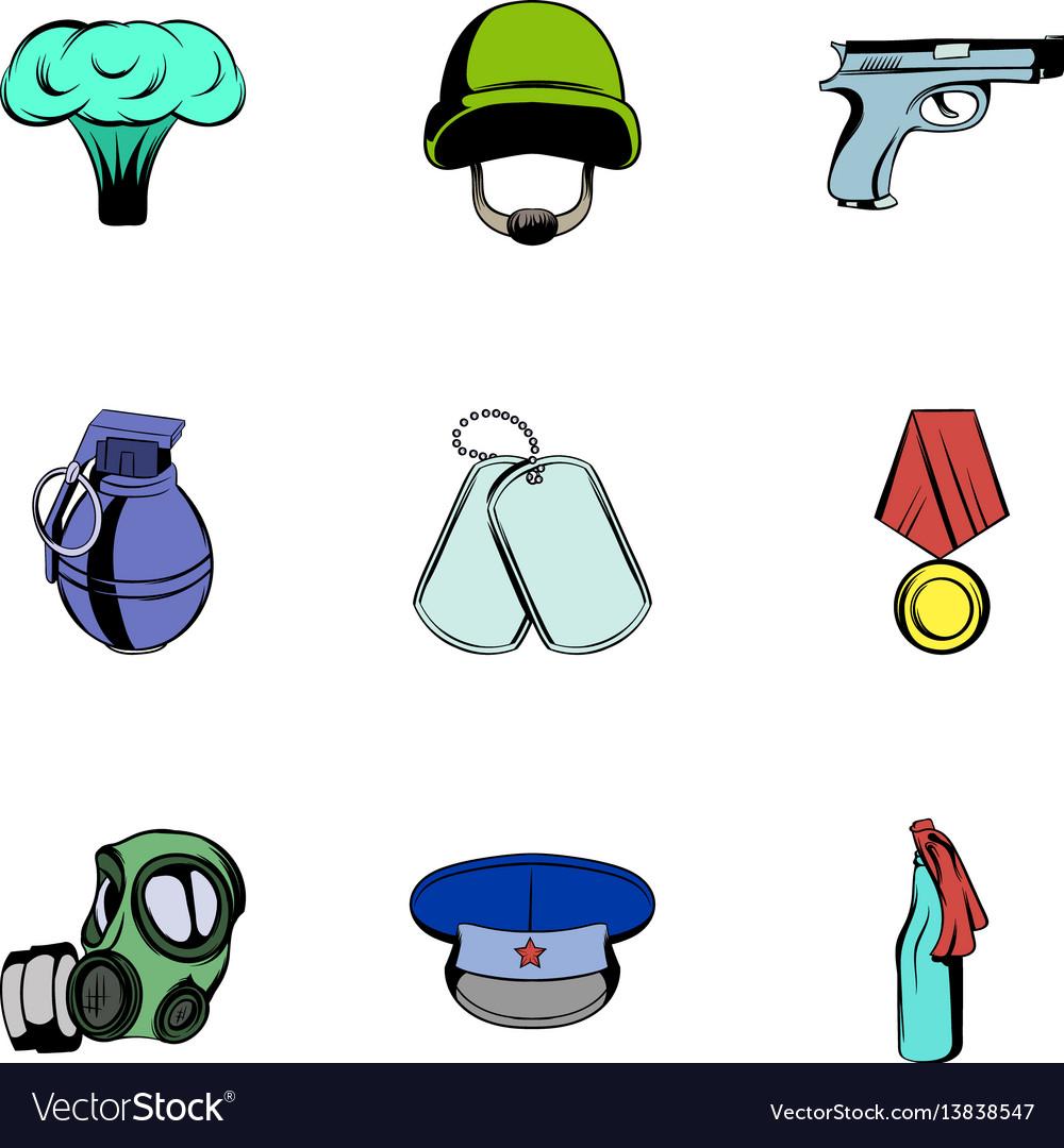 Military theme icons set cartoon style