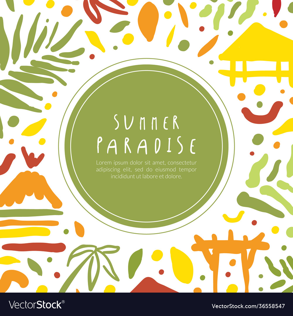 Summer paradise banner template tropical vacation
