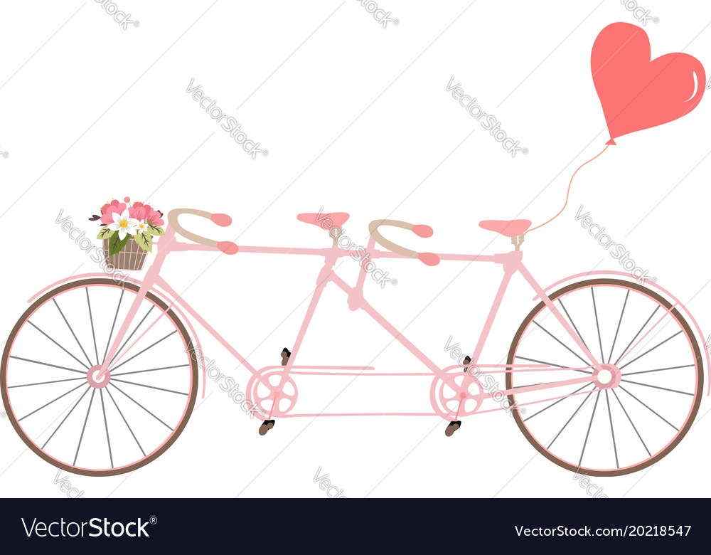 Tandem bicycle with flowers design