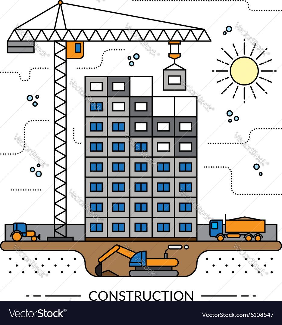 Thin line construction site concept