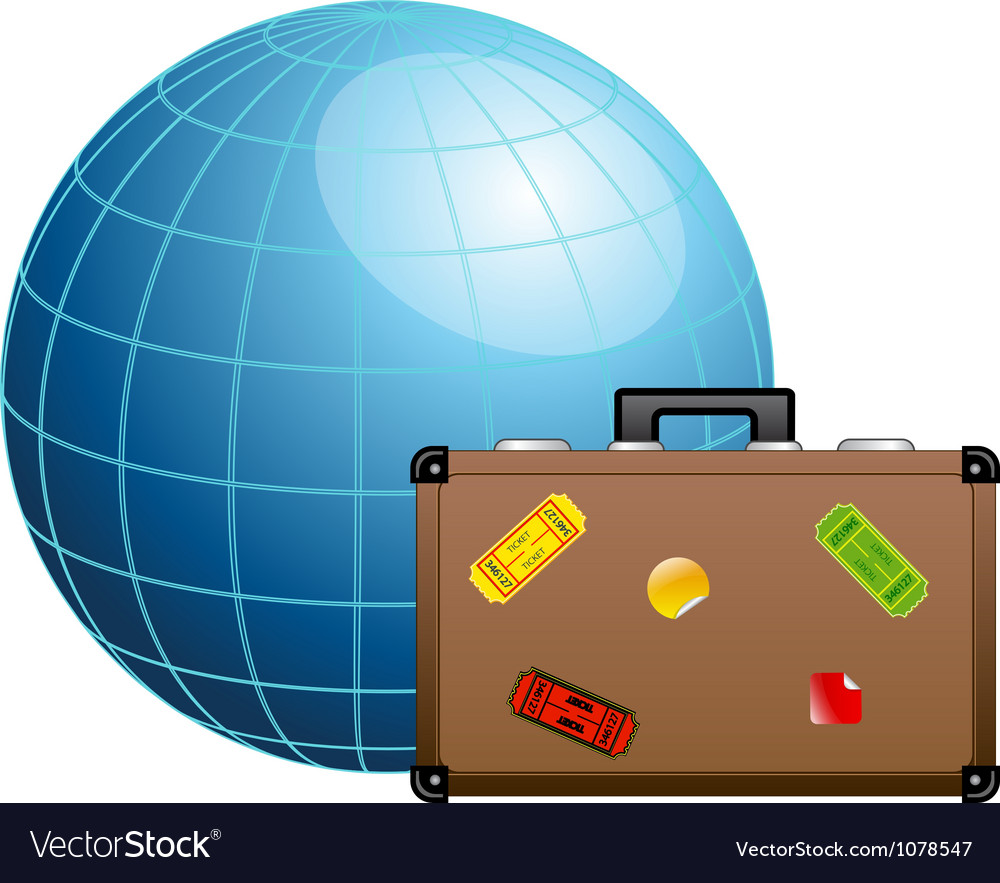 Travel concept Blue globe and travel suitcase