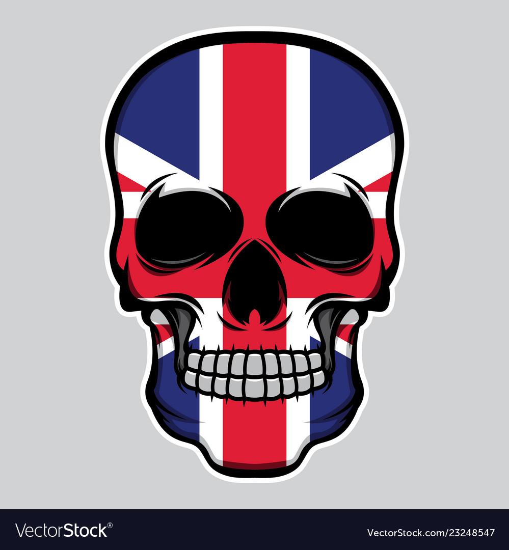 United kingdom flag head skull