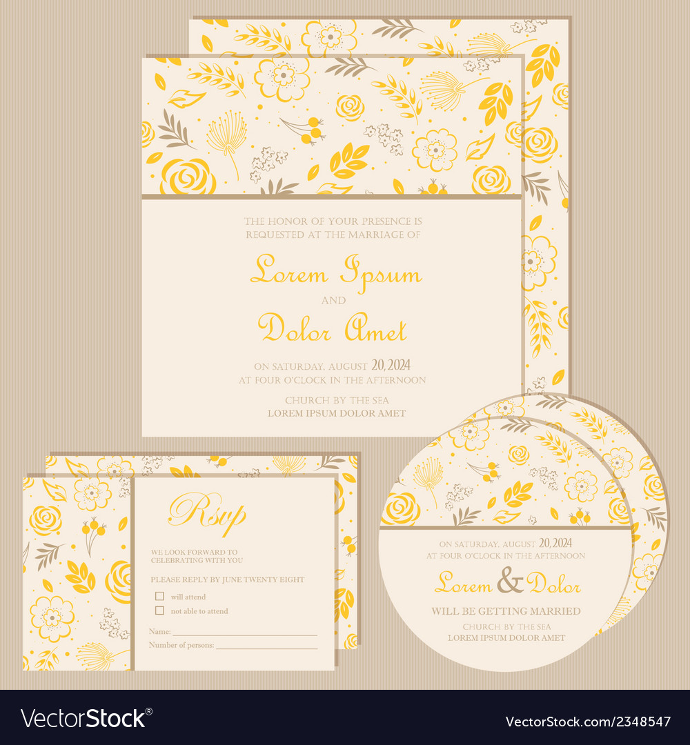 Wedding invitation set yellow