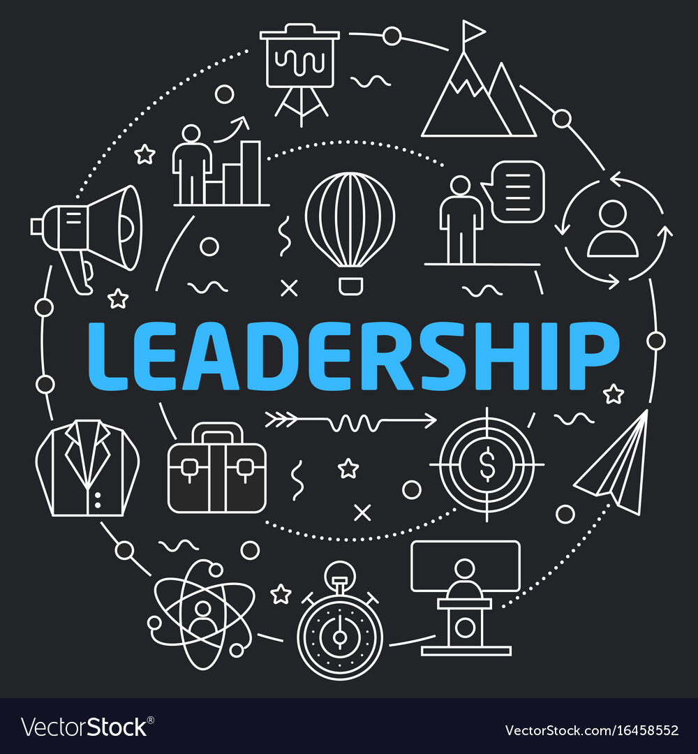 Black Line Flat Circle Leadership Royalty Free Vector Image