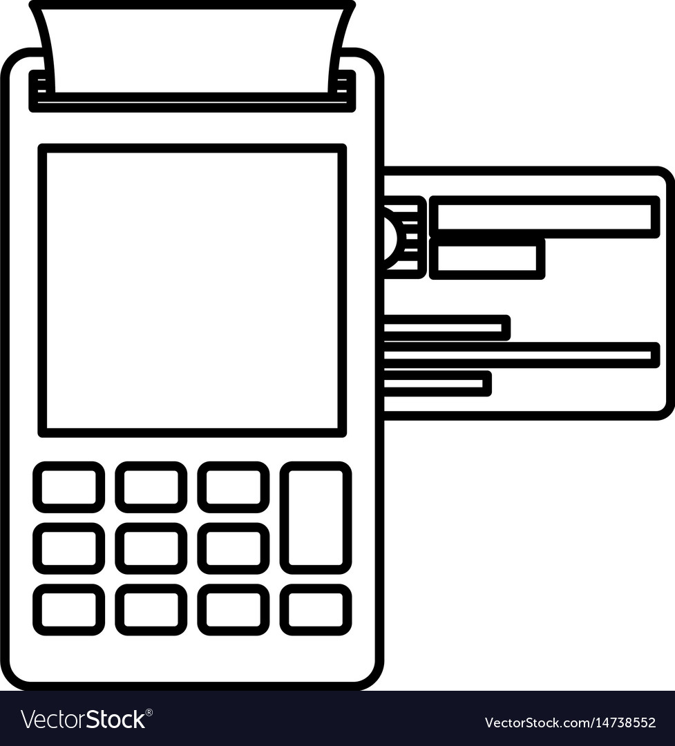 Black silhouette of payment terminal with credit vector image