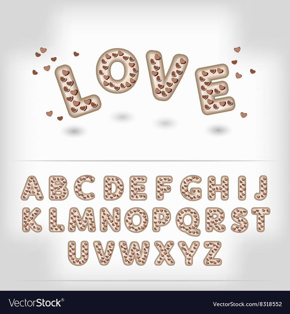 Comic cartoon chocolate with candy heart alphabet