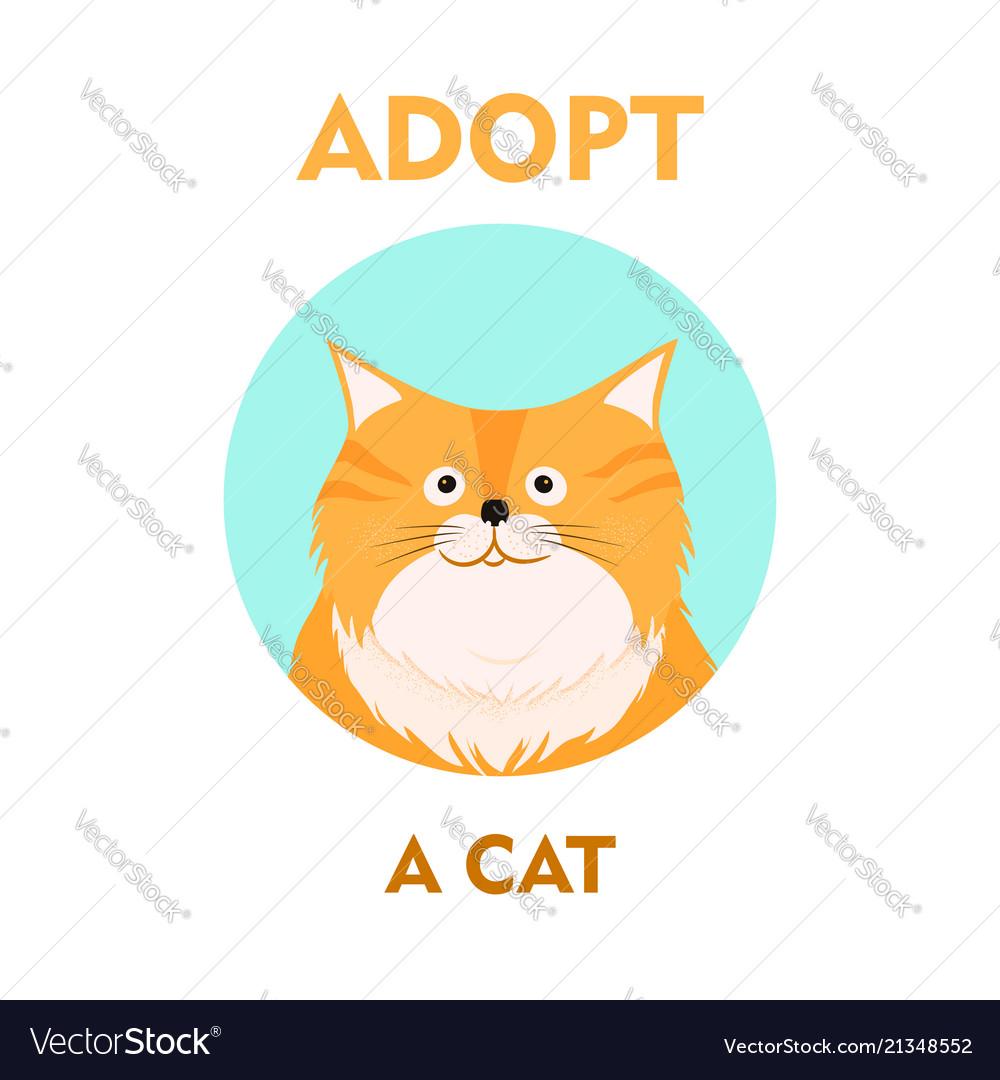 Flat cartoon cat icon design adopt