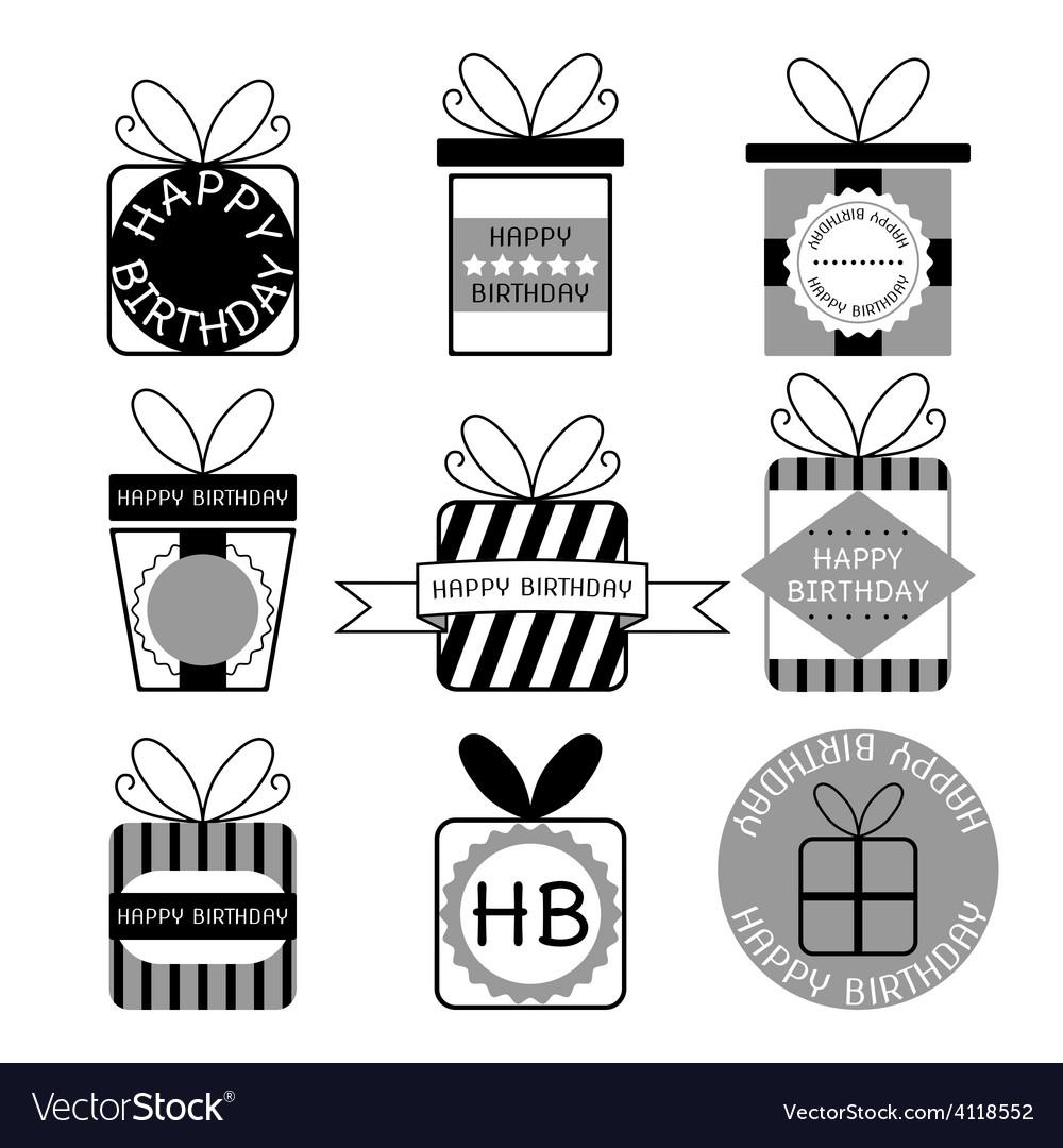 Gift boxes icons happy birthday set
