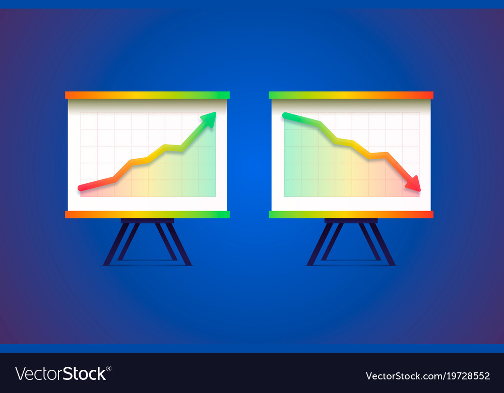 Growing and decreasing chart presentation vector image