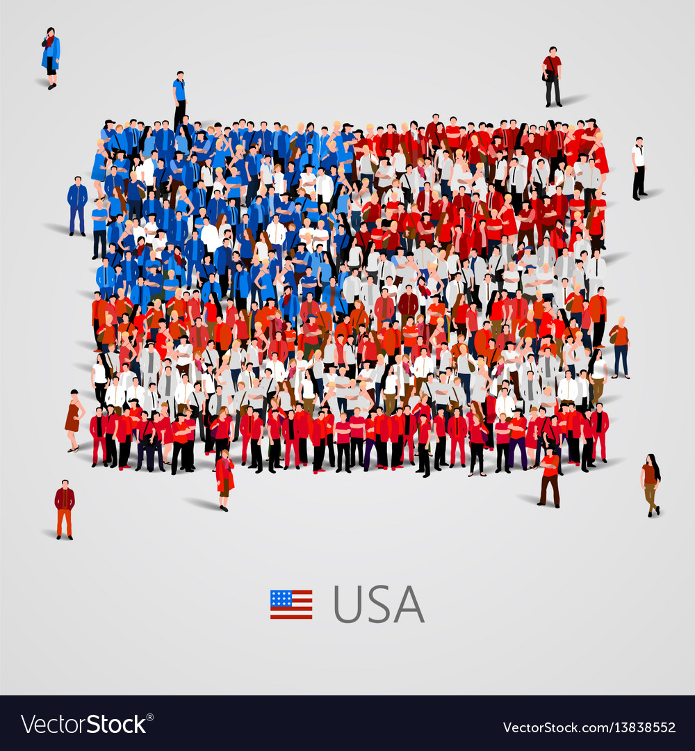 Large group of people in the usa flag shape