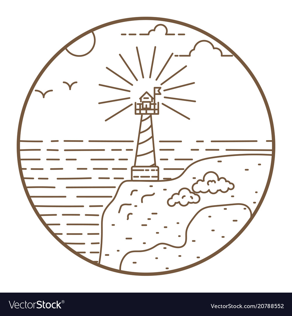 Lighthouse round line style badge