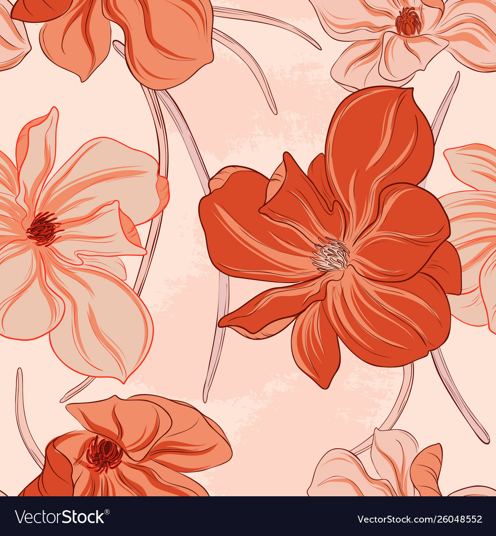 Minimalist floral orange flowers pattern art line