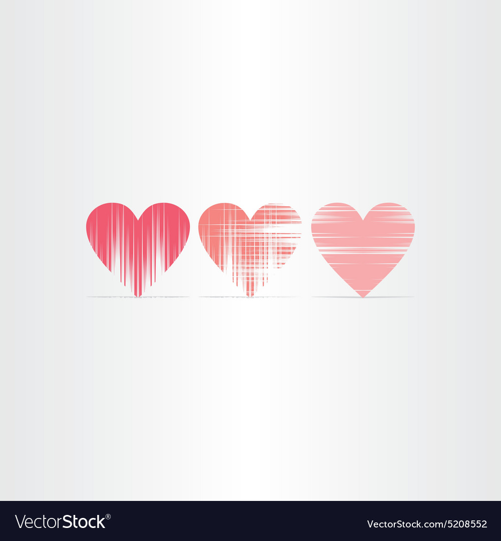 Scratched hearts icons set