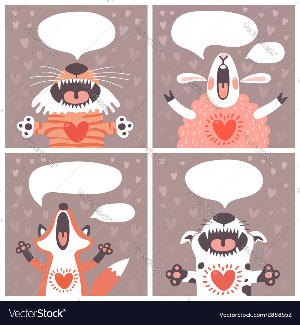 Set of cards with funny animals