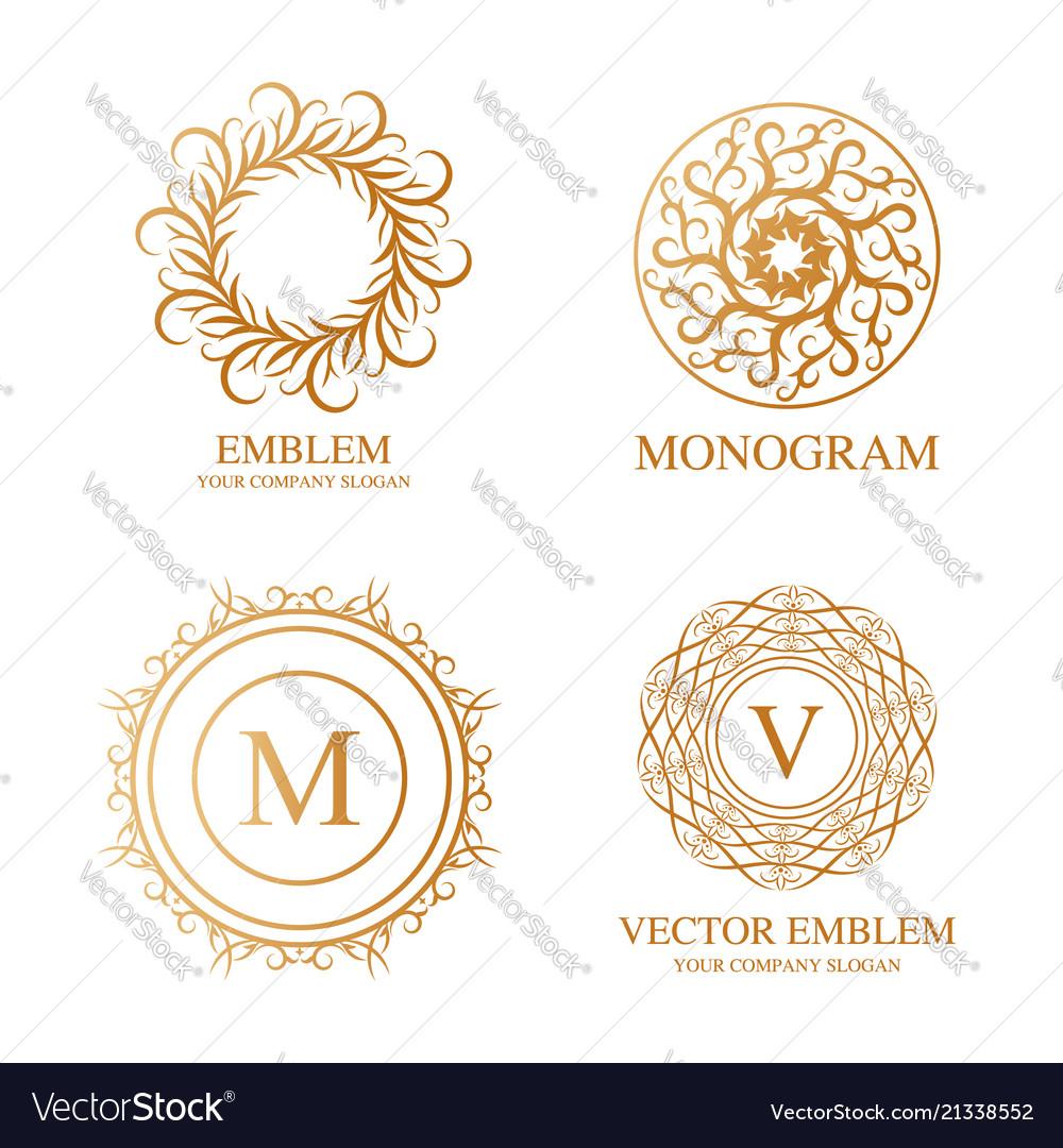 Set of elegant monogram design templates