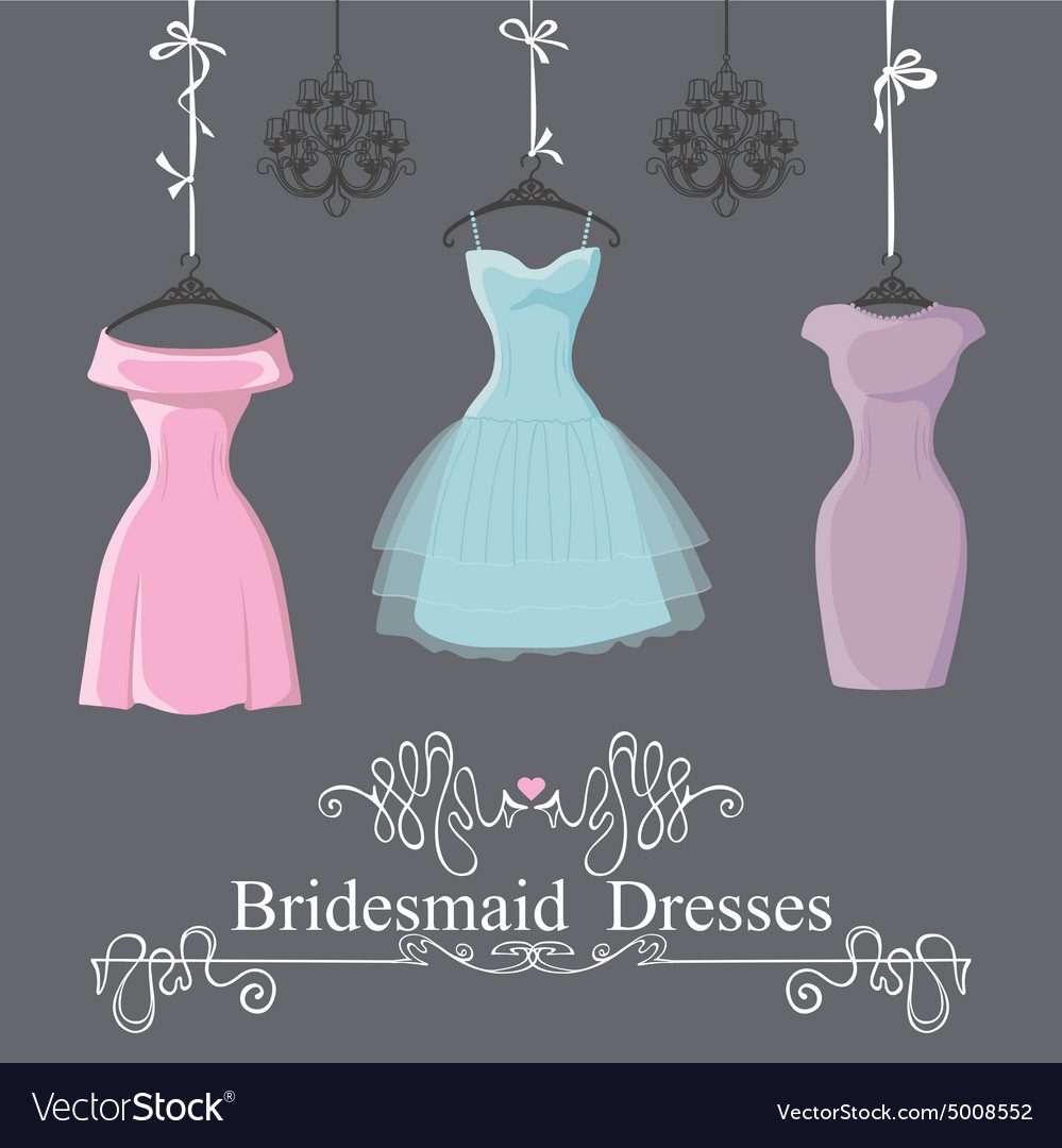 Three short bridesmaid dresses hang on ribbons Vector Image