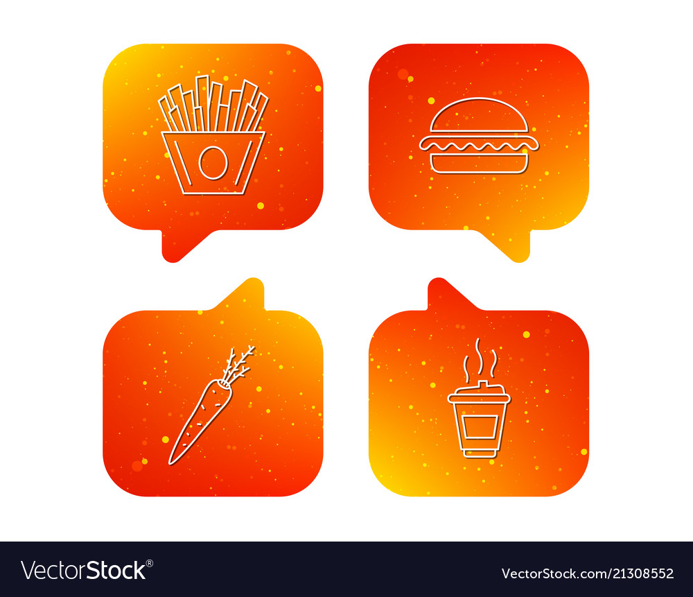 Vegetarian burger chips and coffee icons