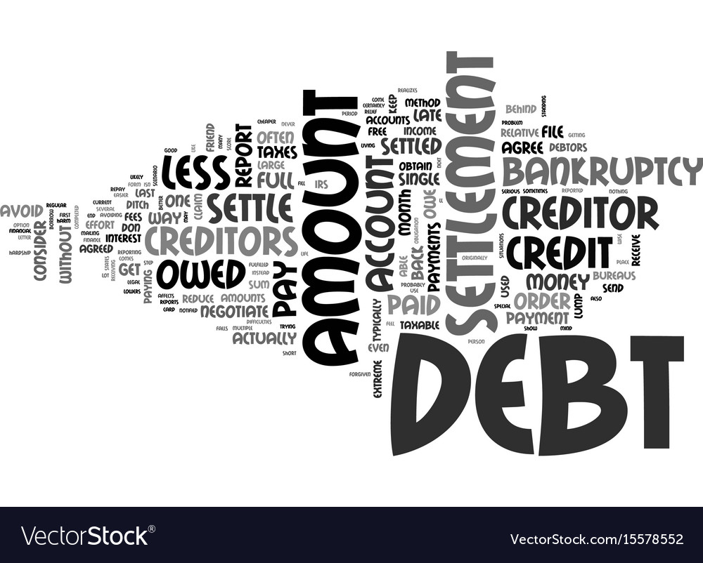 What is debt settlement text word cloud concept