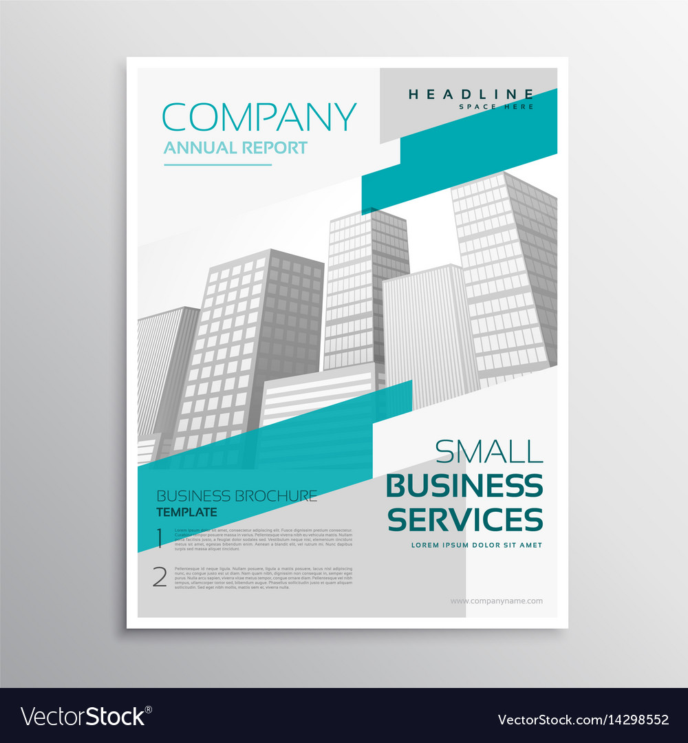 White brochure design in clean style with blue