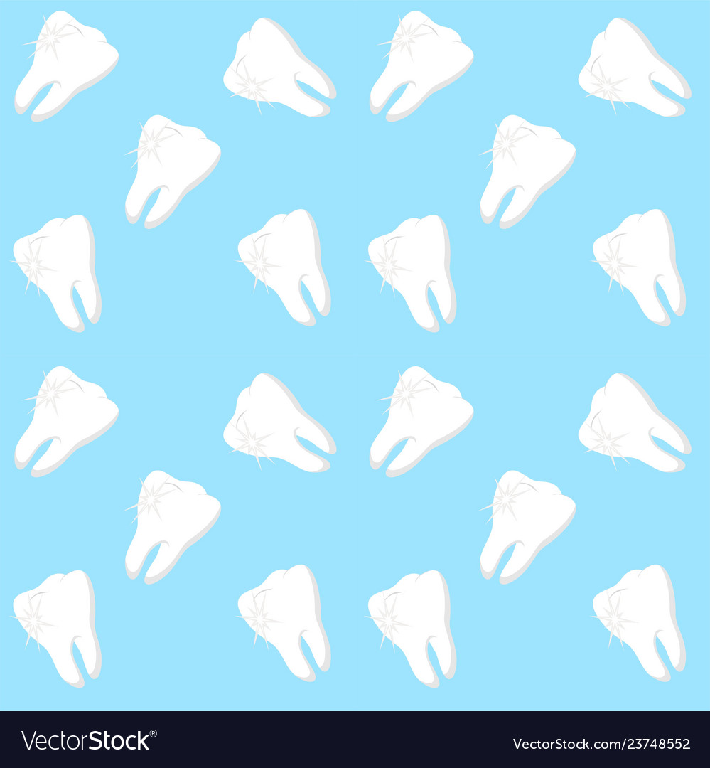 White Teeth On Blue Background Dental Royalty Free Vector
