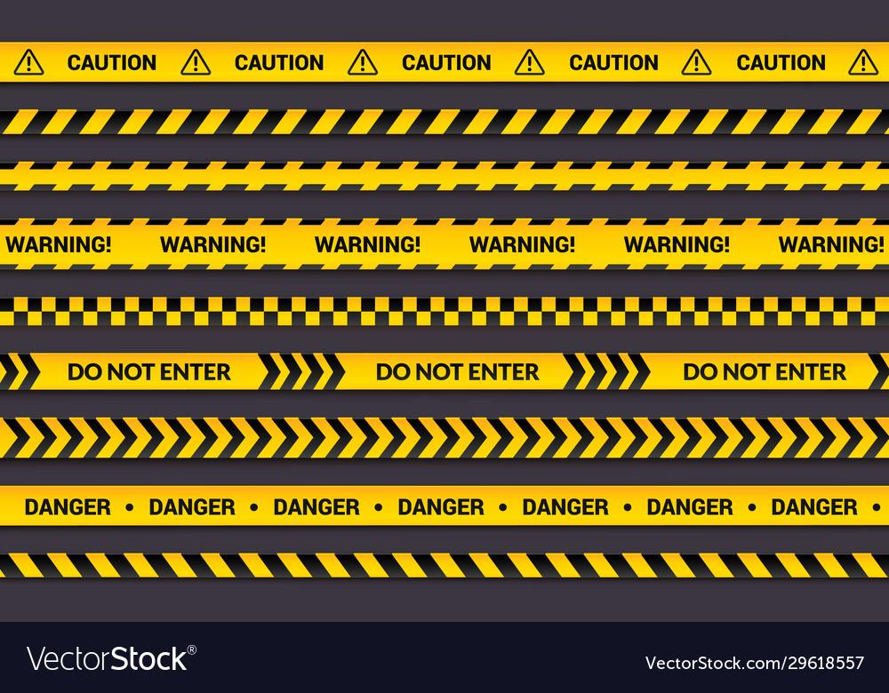 Caution tape set yellow warning strips danger