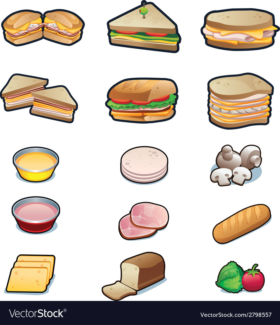 Food Sandwiches and ingredients set