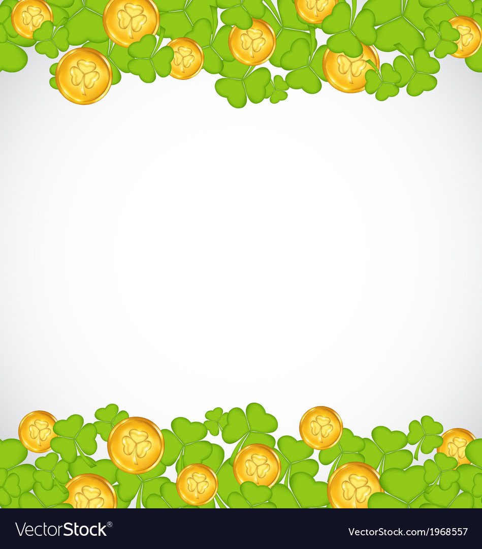 Greeting background with shamrocks and golden