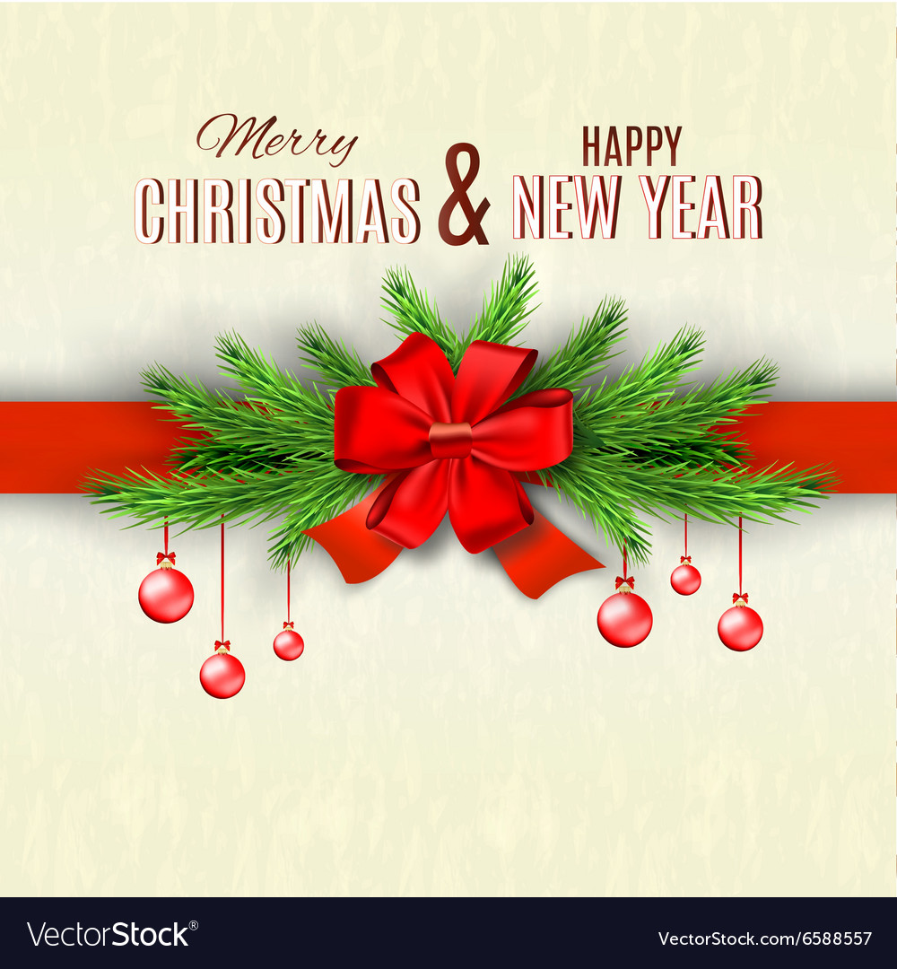Happy new year and merry christmas greeting card vector image m4hsunfo