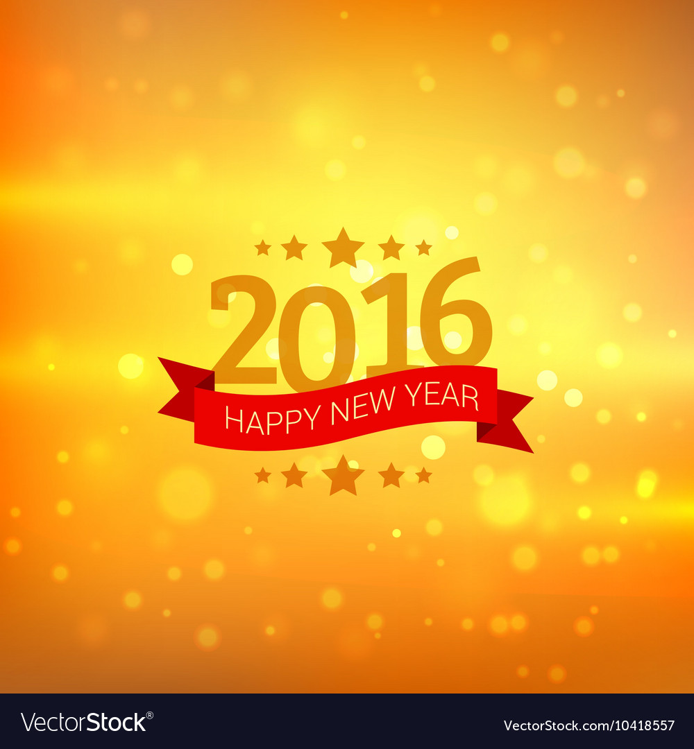 Happy New Year Card In Golden Bokeh Background Vector Image